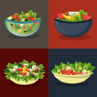 Set of differents salads in bowls in colorful frames