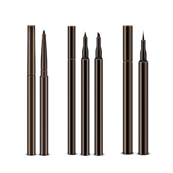 Set of diffrent brown cosmetic makeup eyeliner pencils