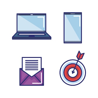 Set of digital marketing and media strategy elements icons