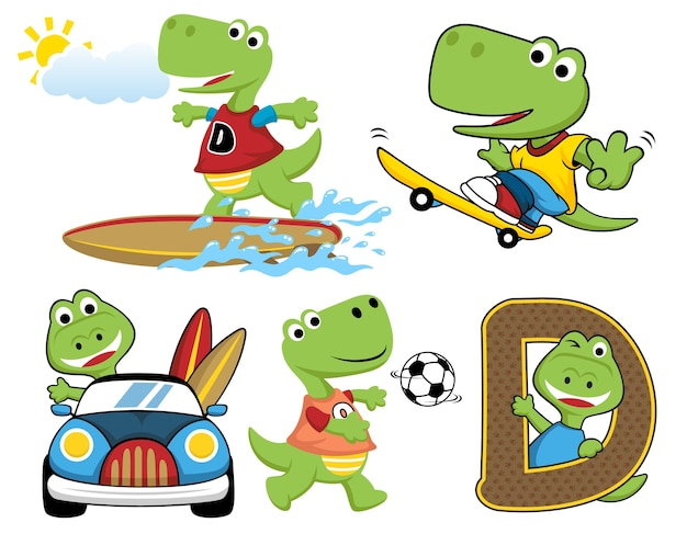 Set of dino activities cartoon