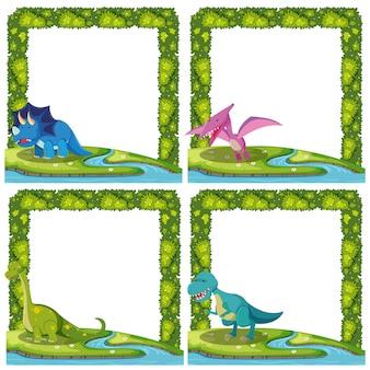 Set of dinosaur border