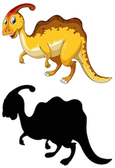 Set of dinosaur cartoon character and its silhouette on white background