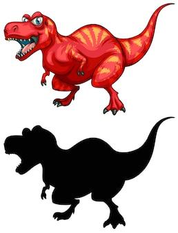 Set di personaggio dei cartoni animati di dinosauro e la sua silhouette su bianco