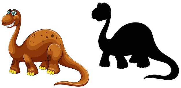 Set of dinosaur cartoon character and its silhouette on white