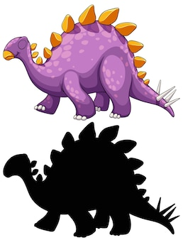 Set of dinosaur cartoon character and its silhouette