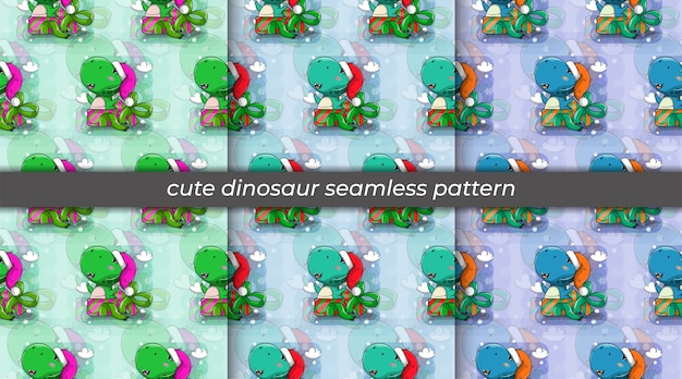 Set of dinosaur cartoon wearing hat and in the gift box seamless pattern