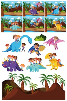Set of dinosaur character and scene