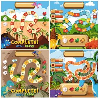 Set of dinosaur game elements