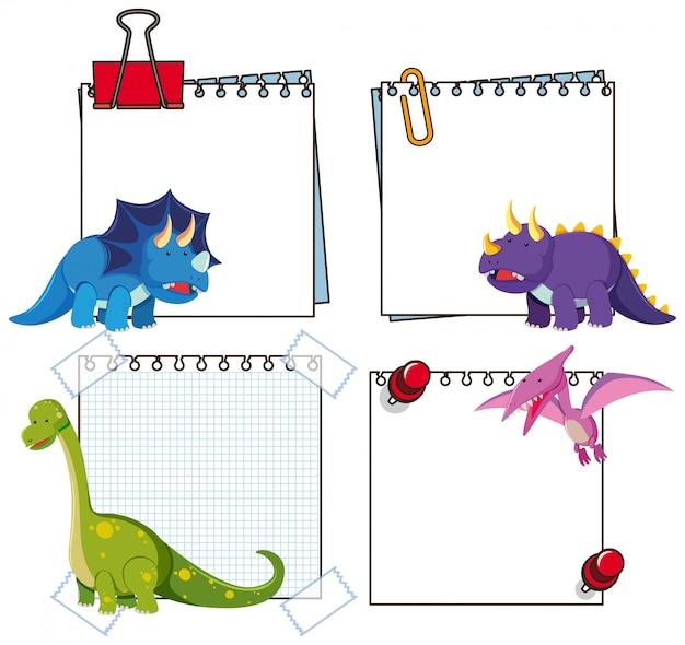 Set of dinosaur paper template