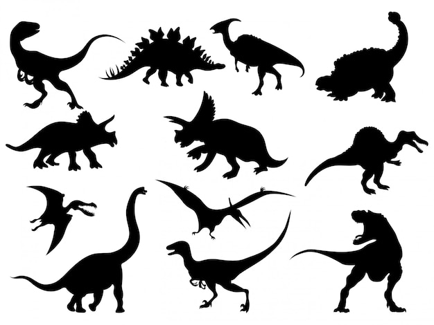 Set of dinosaur silhouettes. collection of extinct animals.   illustration.