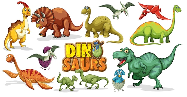 Set of dinosaurs cartoon character isolated on white background