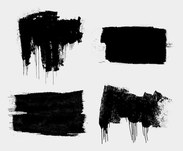 Set of dirty isolated basis artistic messy banner background paint roller distress overlay texture