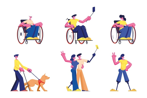 Set of disabled people lifestyle. male and female handicapped characters young and old men and women riding on wheelchair, cartoon illustration