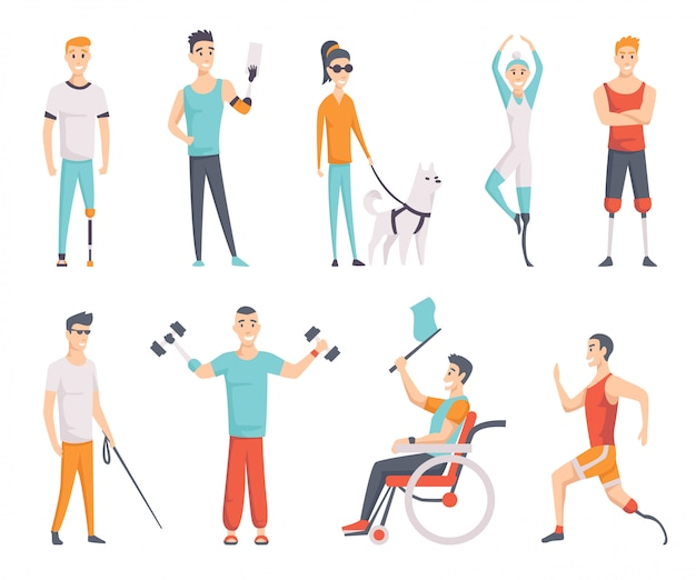 Set of disabled people. young invalid persons. dog companion and blind girl. young handicapped person. athlete with arm prosthesis lifts dumbbells