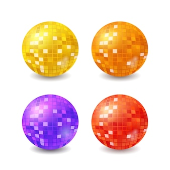 Set of disco balls, realistic mirrorballs isolated on white background