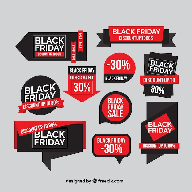 Set of discount black friday stickers in flat design