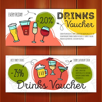 Set of discount coupons for beverages