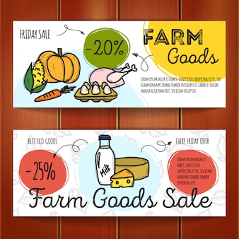 Set of discount coupons for farm food