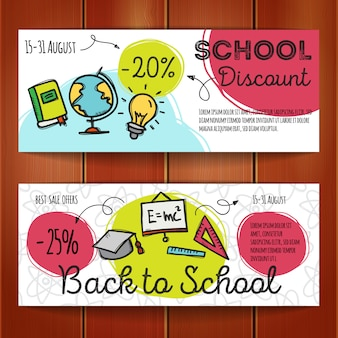 Set of discount coupons for school accessories
