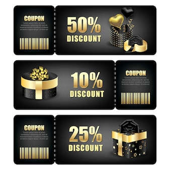 Set of discount coupons with packaging box.