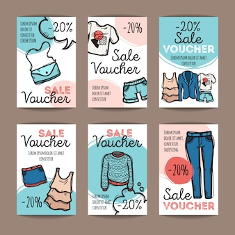 Set of discount coupons for woman clothes