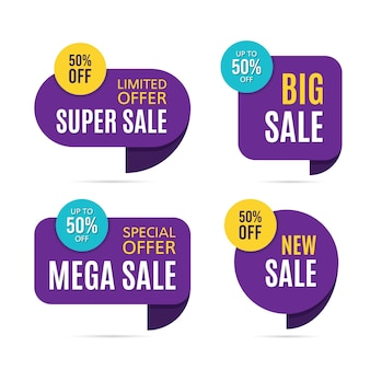 Set of discount price labels