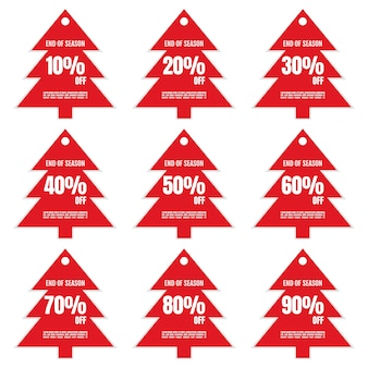 Set of discount sign banner or poster special offer price signs