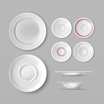 Set of dishware with white empty plates