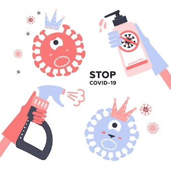 Set of disinfection coronavirus. stop 2019-ncov. hand in glove spray kills a virus bacterium character with sanitizer bottle. disinfectant solution. vector chidish illustration. prevention epidemic.