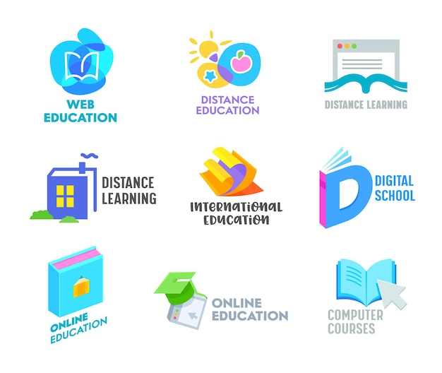 Set of distance learning banners or icons. online education courses, homeschooling concept.