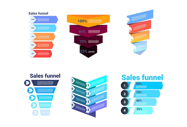 Set divercity sales funnel with steps stages business infographic. purchase diagram concept