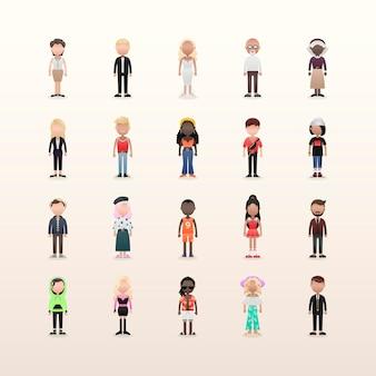 Set of diverse avatars