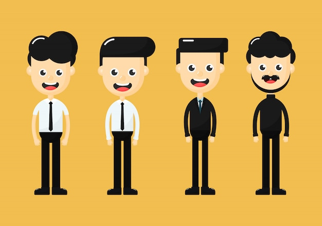 Set of diverse business people isolated on yellow background. men cartoon character.