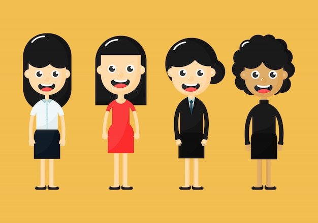Set of diverse business people isolated on yellow background. women cartoon character.