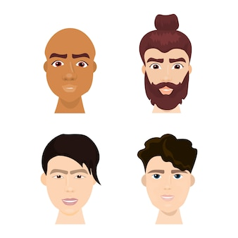 Set of diverse hipster man faces with beards and trendy hairstyles isolated collection