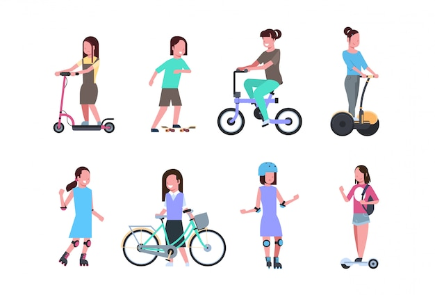 Set diverse kind sport girl riding over white background. cartoon full length character. flat style