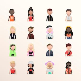 Set of diverse people avatars