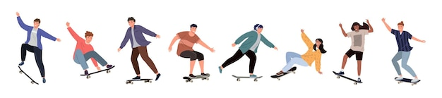 Set of diverse people riding a skateboard. colored flat vector illustration of skateboarders in different poses isolated on white background