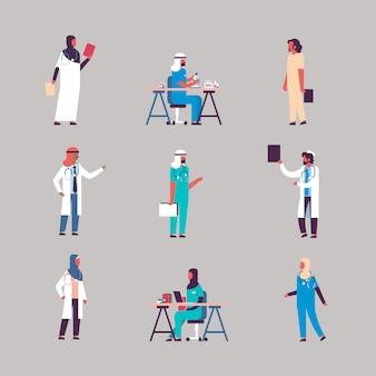 Set diversity arabian medical workers banner