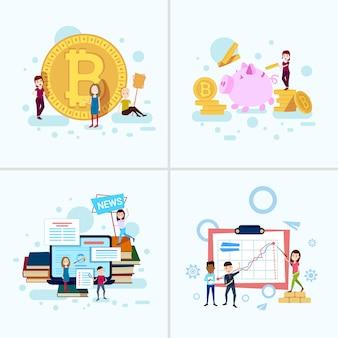 Набор разнообразия мальчик девочка персонаж биткойн деньги концепции роста мужской женский шаблон для проектных работ и анимации на белом фоне полная длина плоский