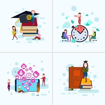 Набор разнообразия мальчик девочка характер образования концепции мужской женский шаблон для проектных работ и анимации на белом фоне полная длина плоский