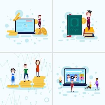 Набор разнообразия мальчик девочка характер образования концепции мужской женский шаблон для проектных работ и анимации на белом фоне во всю длину