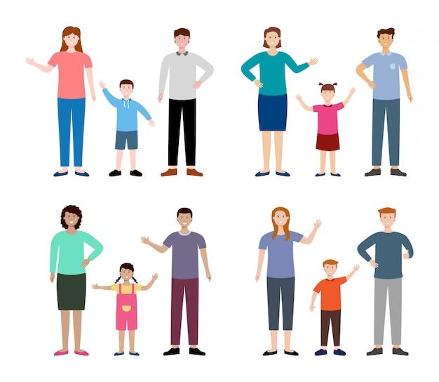 Set of diversity family character, vector illustration