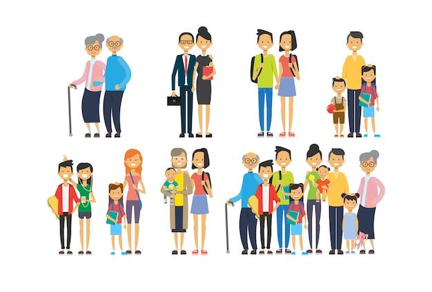 Set diversity poses grandparents parents grandchildren, multi generation family