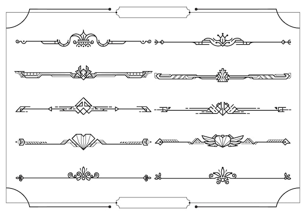 Set of dividers in border, vector decorative design elements