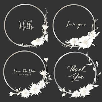Set of dividers round frames, hand drawn flowers.