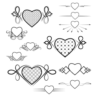 Set of dividers with the image of the heart