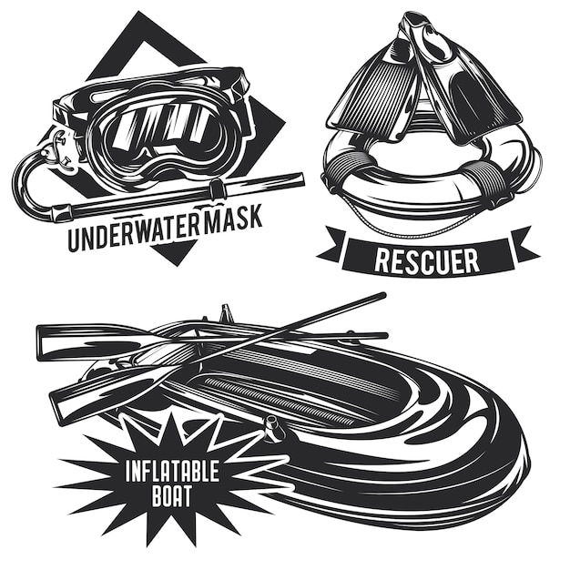 Set of diving emblems, labels, badges, logos.