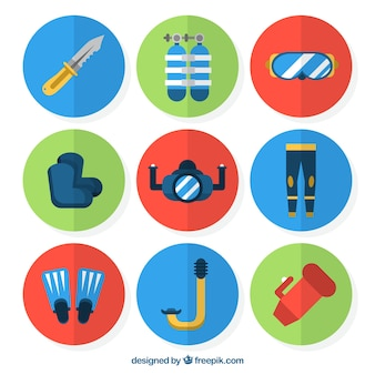 Set di icone di immersione nel design piatto