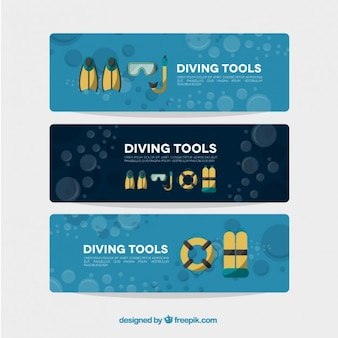 Set of diving tools banners